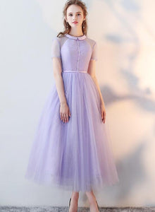 Beautiful Light Purple Tea Length Wedding Party Dress, Lace Short Sleeves Prom Dress