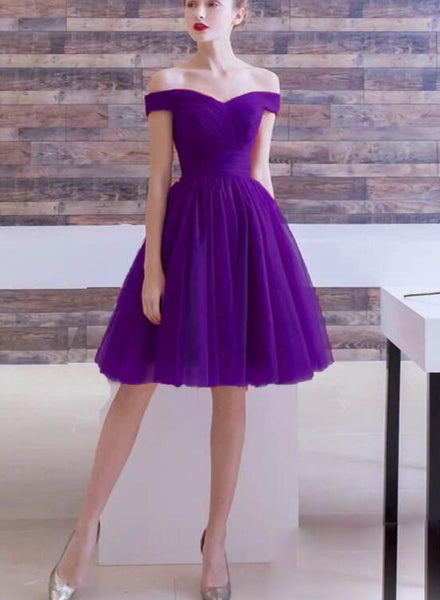 Purple Sweetheart Off Shoulder Knee Length Party Dress, Short Prom Dress Homecoming Dress