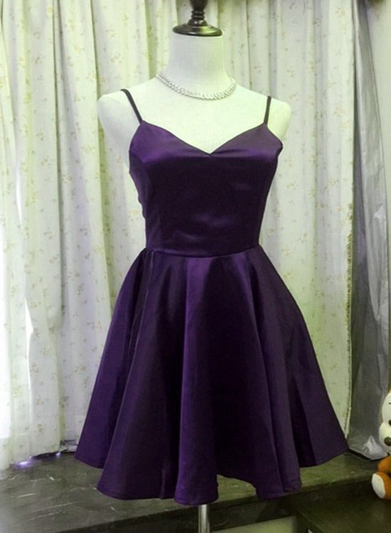 Purple Satin Short Sweetheart Straps Simple Party Dress, Purple Homecoming Dress