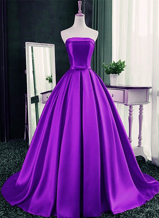 Purple Ball Gown Satin Long Lace-up Sweet 16 Dress, Purple Formal Dress