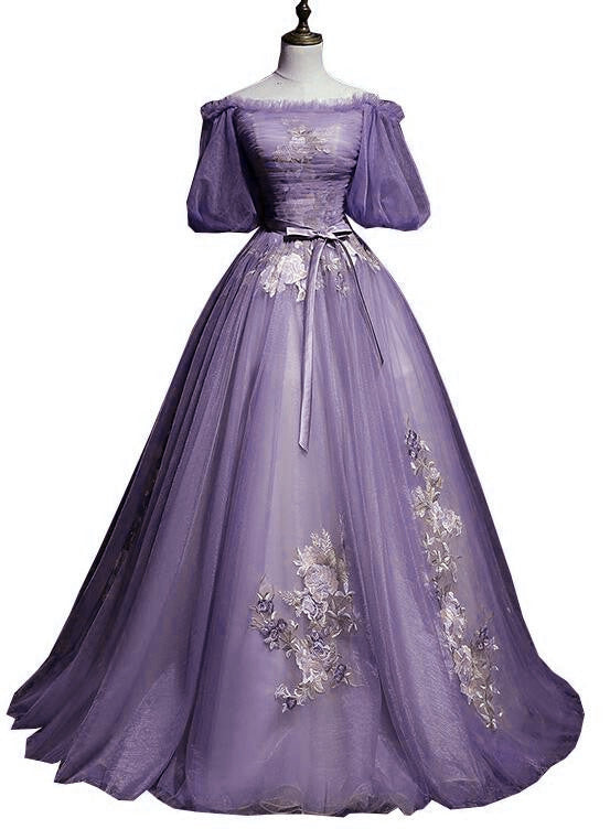 Charming Purple Short Sleeves Tulle Puffy Long Formal Dress, Lovely Evening Dress Party Dress