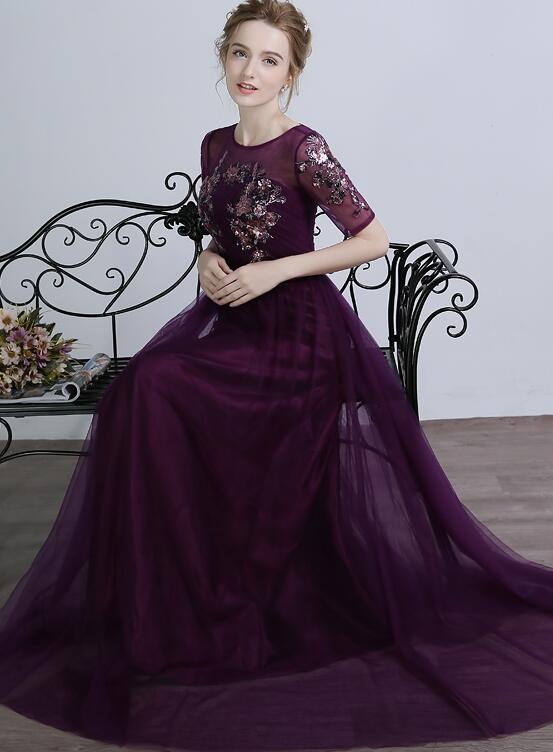Dark Purple 1/2 Sleeves Tulle with Sequins Applique Party Dress, Purple Long Formal Dress