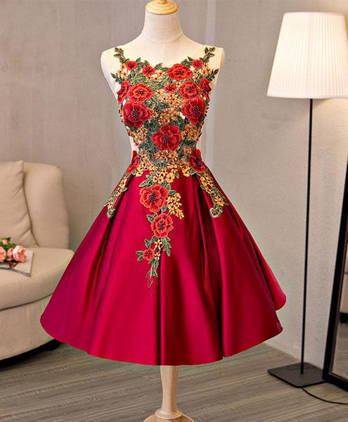 red satin homecoming dress