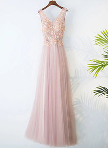 pink v-neckline prom dress