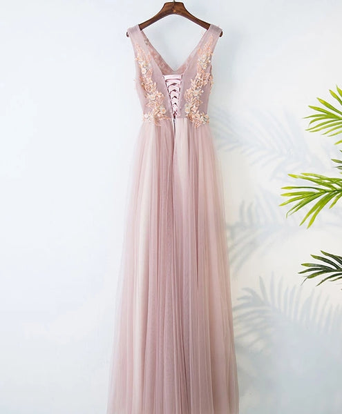 Beautiful Pink V-neckline Bridesmaid Dress, Tulle A-line Prom Dress