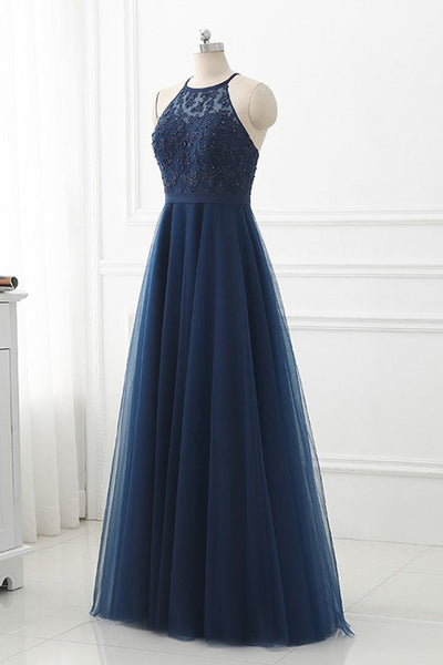 Navy Blue Tulle with Lace Applique Long Party Dress, Blue Prom Dress 2020