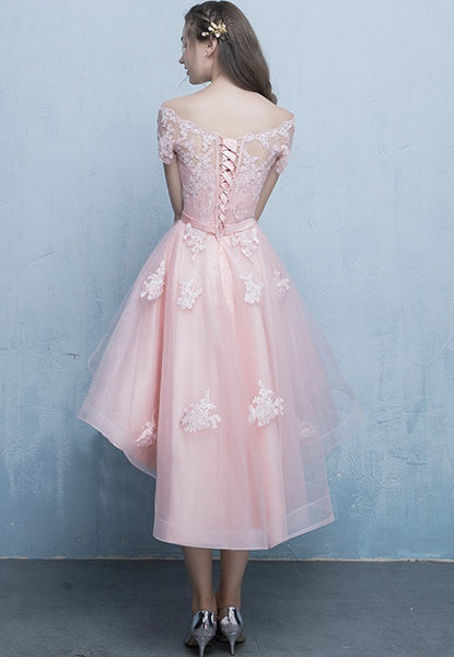 Pink Off Shoulder Tulle High Low Homecoming Dresses, Short Pink Prom Dress