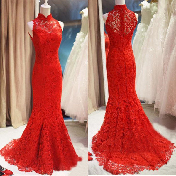 Red Lace Mermaid Long Formal Gown, Red Bridesmaid Dress 2019