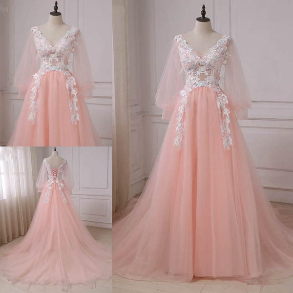 Pink Lace Applique V-neckline Long Prom Dress, Long Sleeves Fashionable Evening Gown