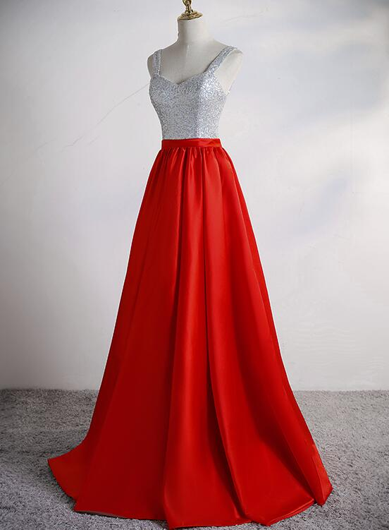 Red Satin and Sequins Sweetheart Long Party Dress, Red Prom Dress 2021