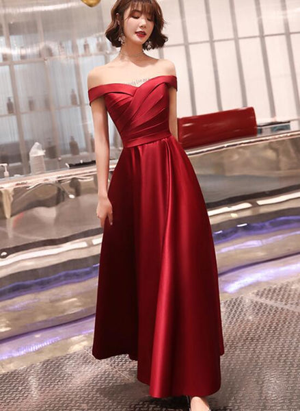 Dark Red Off Shoulder Satin Long Prom Dress, Red Evening Dress Bridesmaid Dress