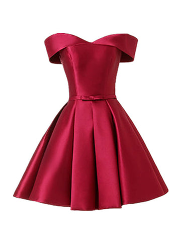 Wine Red Satin Handmade Knee Length Party Dress, Short Prom Dress
