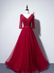 Wine Red Tulle Sequins V-neckline Long Formal Dress, A-line Tulle Prom Dress, Party Dress