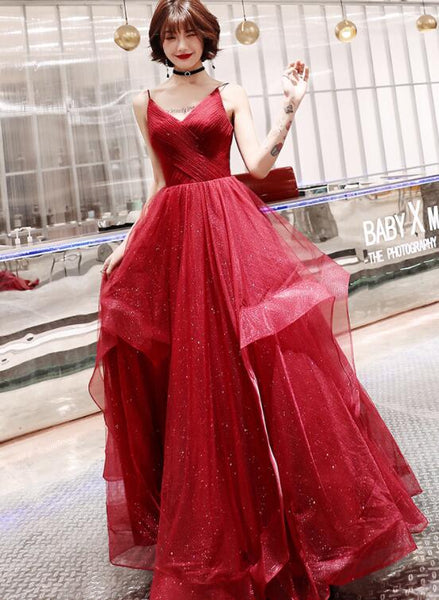 Wine Red Tulle V-neckline Long Party Dresses, A-line Straps Tulle Formal Gown Evening Dress