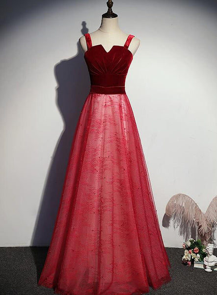 Red Lovely Tulle with Velvet Top Floor Length New Prom Dress, Red Long Formal Dress