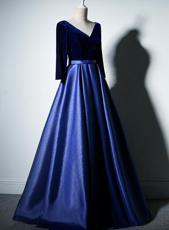 Pretty Royal Blue Long Sleeves Satin with Velvet Party Dress, A-line Long Prom Dress