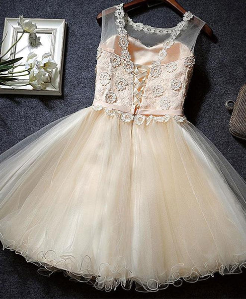 Lovely Champagne Tulle Party Dress, Cute Homecoming Dresses