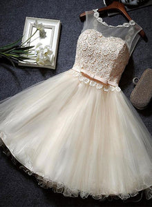 lovely champagne tulle party dress