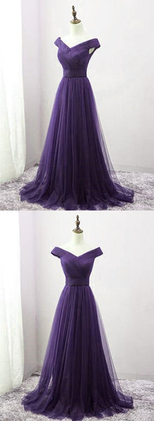 Dark Purple Sweetheart Tulle Off Shoulder Bridesmaid Dress, Long Prom Dress