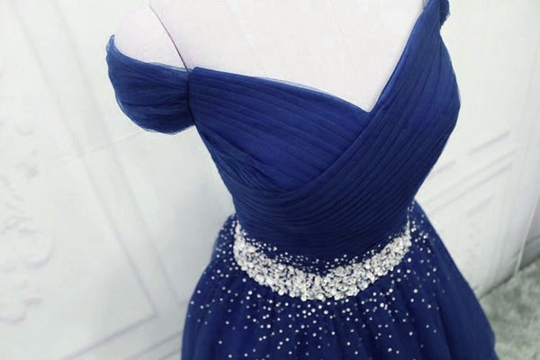 Dark Blue Beaded Tulle A-line Party Dress, Long Prom Dress