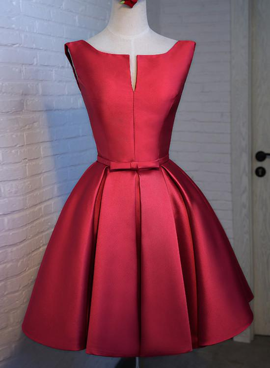red satin short prom dress