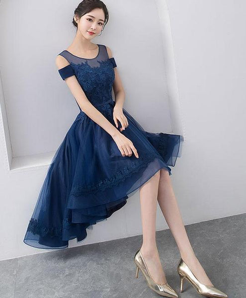 Lovely Navy Blue High Low Homecoming Dress 2019, Short Party Dress 2019