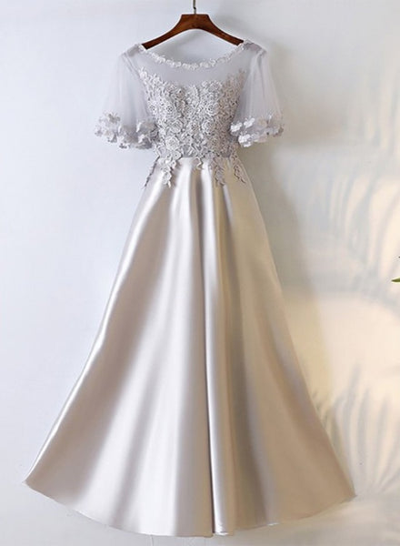 Sliver Grey Satin with Lace Round Neckline Prom Dress, A-line Long Formal Dress Party Dress