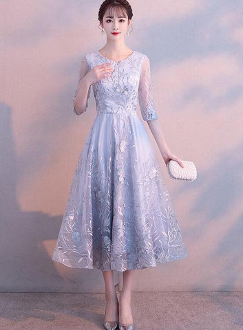 Sliver-Grey Lace Tea Length Bridesmaid Dress, Short Prom Dress Homecoming Dress