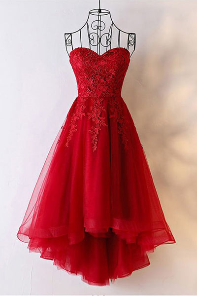 red sweetheart tulle high low dress