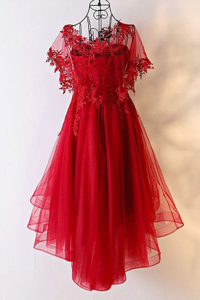 Red Sweetheart Tulle High Low Homecoming Dress 2019, Red Party Dress