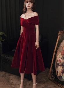 Charming Wine Red Off Shoulder Velvet Tea Length Party Dress, Short Bridesmaid Dress