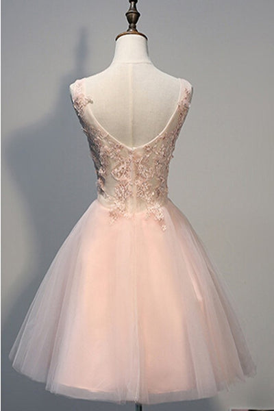 Blush Pink Lace Backless V-neck Homecoming Dresses, Short Pink Prom Dress