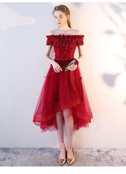 Red High Low Off Shoulder Tulle Homecoming Dress, Lace Applique Short Prom Dress