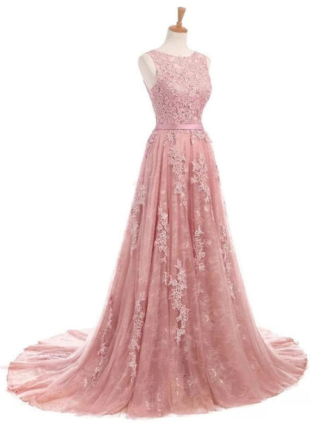 Pink Long Formal Gown, Junior Prom Dress, Tulle and Lace Gown
