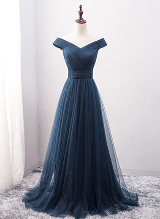 Navy Blue Sweetheart Lace-up Party Dress, Long Prom Dress