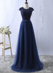 Charming Lace Top Sleeves Long Party Dress, Bridesmaid Dresses