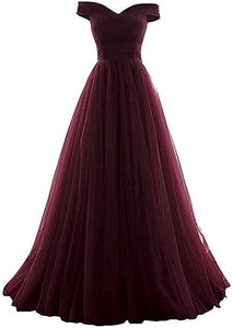 burgundy tulle prom dress 2020