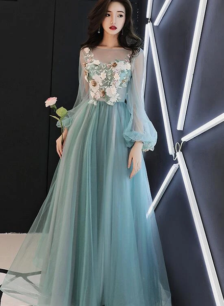 Fashionable Light Green Tulle Long Sleeves Prom Dress, A-line Party Dress with Lace Applique
