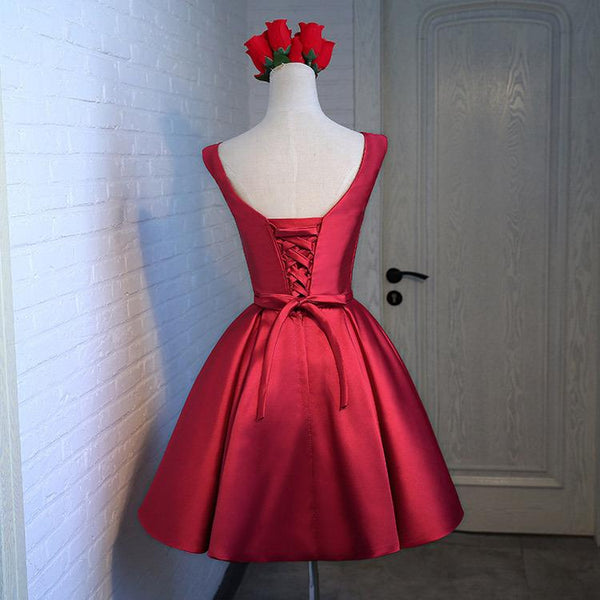 Adorable Cute Wine Red Satin Short Prom Dress 2020, New Party Dress