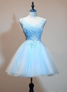 Cute Tulle Light Blue Short Prom Dress With Lace Applique, V-Neckline Homecoming Dress