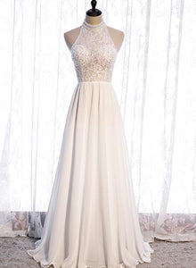 White Chiffon and Lace Beaded Halter A-line Prom Dress, New Style Party Dress