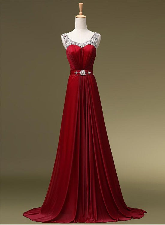 Dark Red Sequqins Long Prom Dress, A-line Floor Length Party Dress