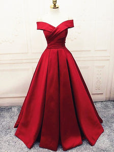 Fashionable Dark Red Satin Simple Off Shoulder Prom Dress, Red Party Dress Evening Dress