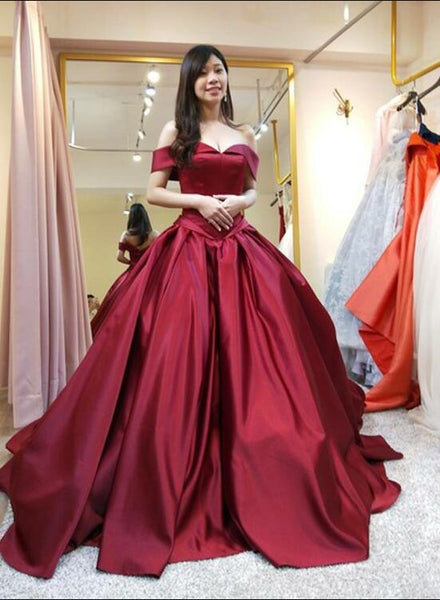 Dark Red Satin Ball Gown Long Sweet 16 Party Dress, Off Shoulder Formal Dress