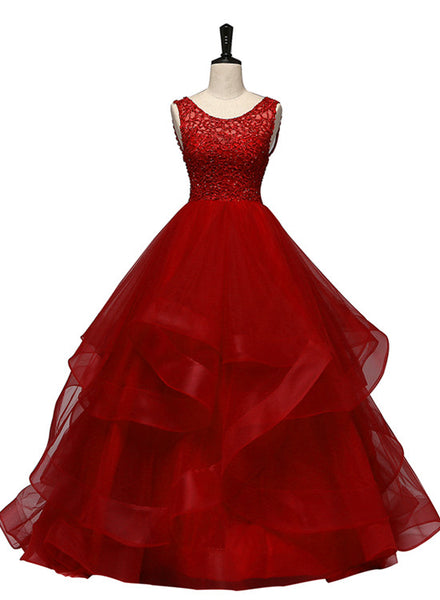 Wine Red Tulle with Lace Layers Ball Gown Sweet 16 Dress, Long Formal Dress Prom Dress