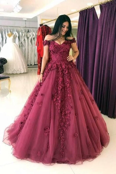 Wine Red Off Shoulder Flowers Lace Ball Gown Sweet 16 Dress, Burgundy Tulle Party Dress