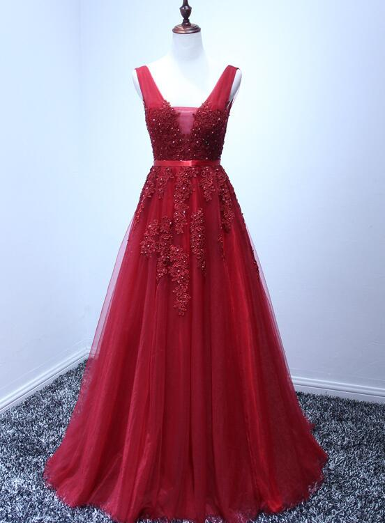 Wine Red V-neckline Tulle Long Prom Dress, Dark Red Floor Length Party Dress, Bridesmaid Dress