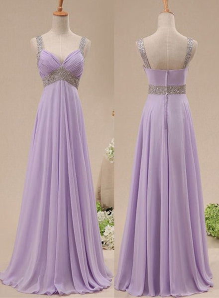 Beautiful Light Purple Chiffon Straps Party Dress, Long Formal Dress 2020