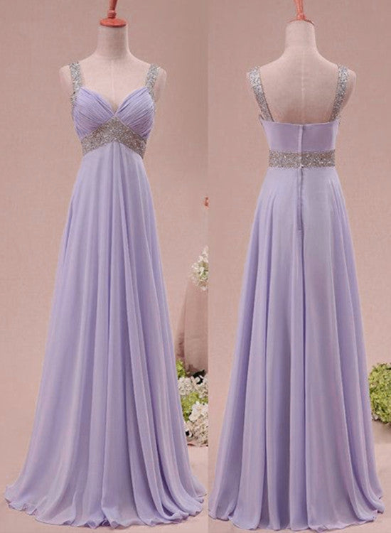 Light Purple Chiffon Long Formal Dress 2019, Charming Party Gowns