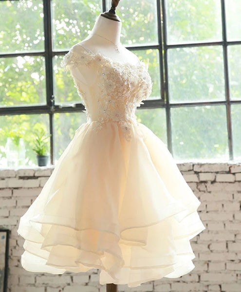 Cute Champagne Organza Layers Knee Length Homecoming Dress with Lace, Short Prom Dress